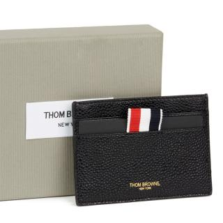 Thom Browne Black Pebble Leather Stripe Cardholder