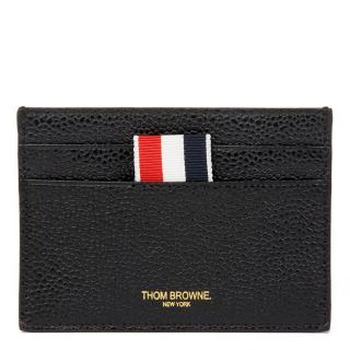 Thom Browne Black Pebble Grained Calfskin Leather Stripe Cardholder