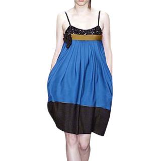 Derek Lam Beaded Silk Colourblock Cocktail Dress IT40/UK8