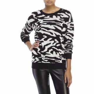 Sandro Zebra Print Back Zip Sweater Jumper