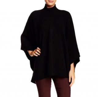 Theory Black Cotton Cashmere Poncho