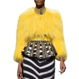 Balmain Collarless Raccoon Fur Top