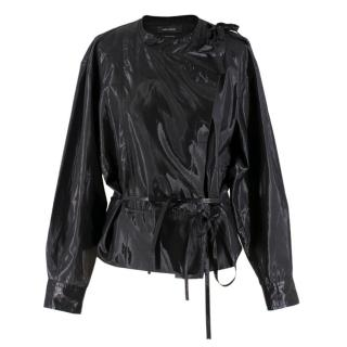 Isabel Marant Black Metallic Silk-blend Wrap Top