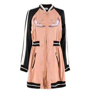 Red Valentino Flamingo Embroidered Varsity Style Lightweight Jacket