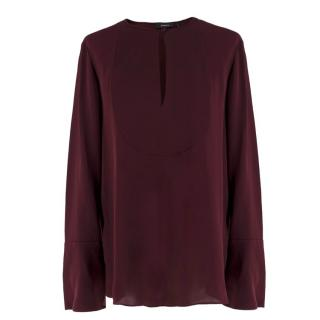 Theory Silk Burgundy Collarless Blouse