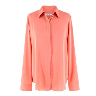 The Row Stretch Silk-Blend Peach Shirt