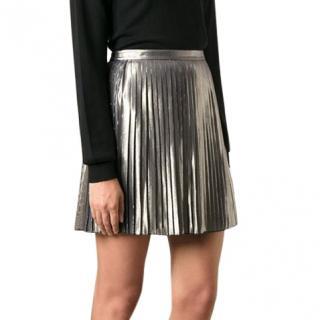 Tory Burch Metallic Silk-Blend Pleated Skirt