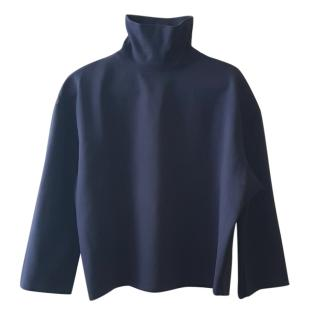 Acne Studios High-Neck Navy Cotton Sweater