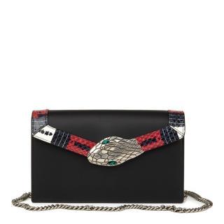 Gucci Lilith Black Smooth Calfskin & Snakeskin-Trimmed Shoulder Bag