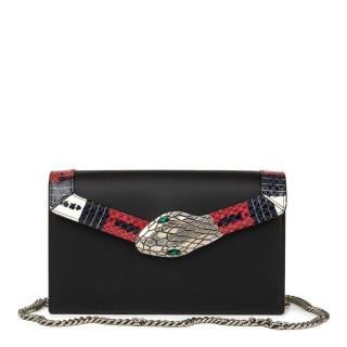 Gucci Lilith Black Smooth Calfskin & Snakeskin-Trimmed Shoulder Bag