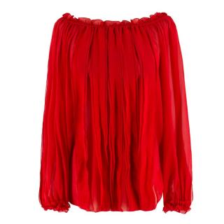 Blumarine Red Silk Ruffle Pin-Tuck Blouse