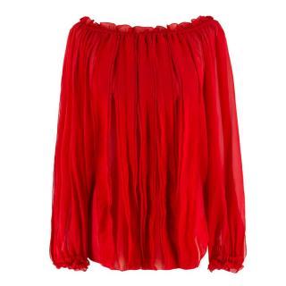 Blumarine Red Silk Ruffle Pin-Tuck Blouse