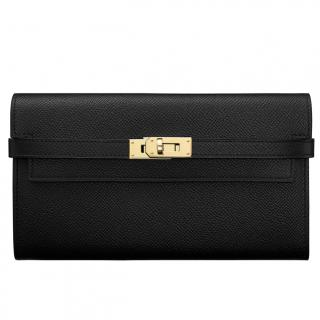 Hermes Kelly Black Epsom Long Wallet