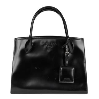 Prada Monochrome Patent-Leather Black Tote