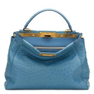 Fendi Blue Ostrich Leather Small Peekaboo Bag