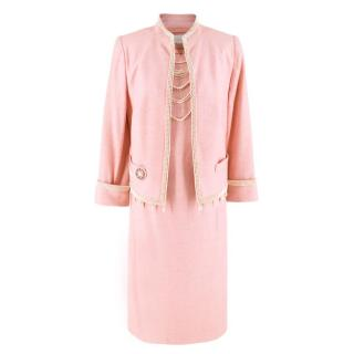 Escada Pink Tweed Faux Fur Embellished Dress & Jacket Suit