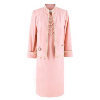 Escada Pink Tweed Faux Fur Embellished Dress & Jacket Suit
