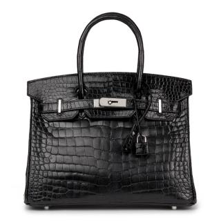 Hermes Black Shiny Porosus Crocodile 30cm Birkin Bag