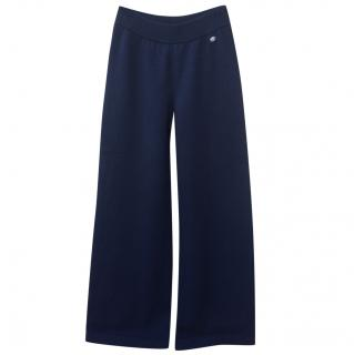Chanel navy 100% cashmere knit trousers