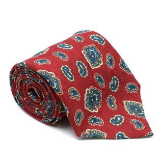 Yves Saint Laurent Silk Paisley Pattern Jacquard Tie