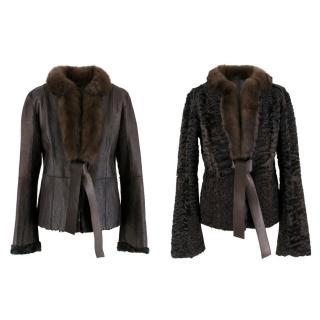 Valentino Leather, Sable & Astrakhan Fur Reversible Jacket