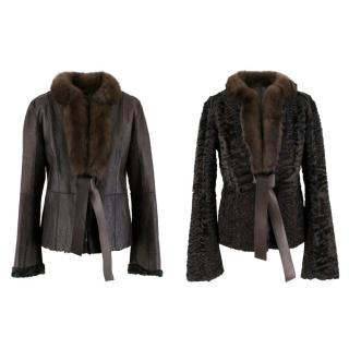 Valentino Leather, Sable & Astrakhan Fur Reversible Jacket