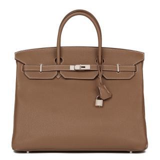 Hermes Etoupe Togo 40cm Leather Birkin Bag