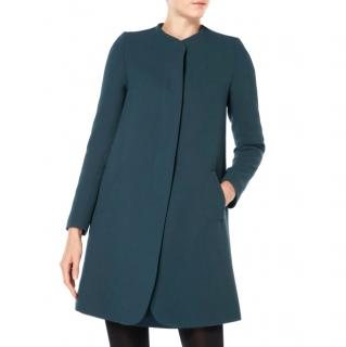 Goat collarless green wool coat