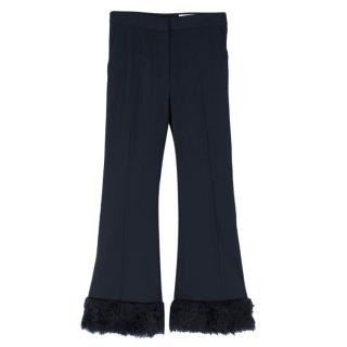 Stella McCartney faux-fur trimmed cropped trousers