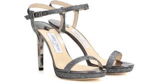 Jimmy Choo Claudette 100mm glitter sandals