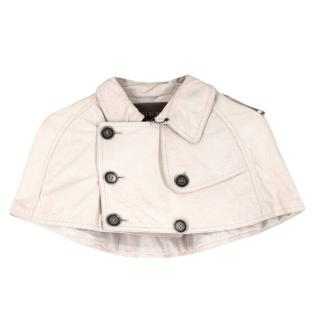 Burberry ivory cropped leather cape