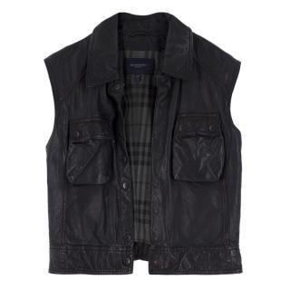 Burberry black sleeveless leather Gilet