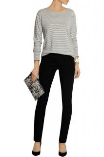 Isabel Marant Lecia satin-trimmed stretch-wool skinny trousers