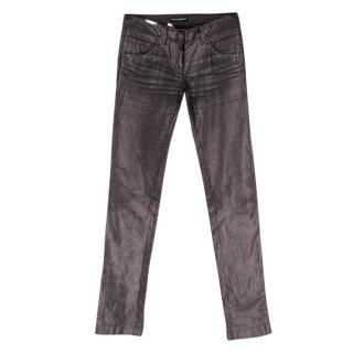Dolce & Gabbana Metallic Silver Skinny Trousers