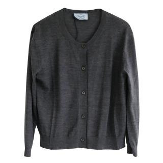 Prada Fine Grey Merino Wool Cropped Cardigan