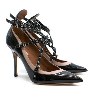 Valentino 'Love Latch' eyelet-embellished patent-leather pumps