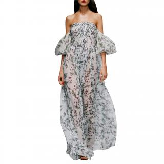Blumarine off-the-shoulder floral silk-chiffon gown