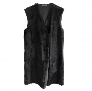 Prada Linea Rossa Black Goat Fur Sleeveless Gilet Coat IT42/UK10