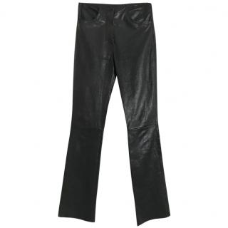 JITROIS lambs leather black stretch high waist trousers