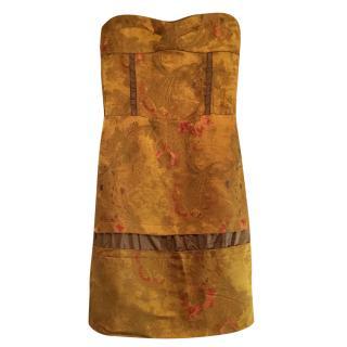 Marni strapless brocade dress.
