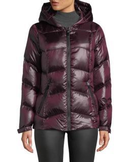 Donna Karan Maroon Duck Down Puffer Jacket
