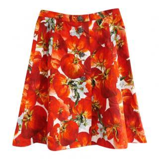 Dolce & Gabbana Tomato Print Jewel Button Brocade Flared Skirt