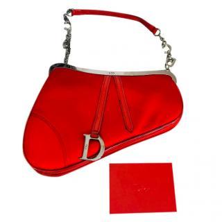 Dior Vintage Red Saddle Bag