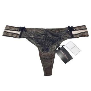 Chantal Thomass Black & Nude Tulle Thong