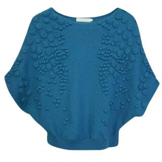 ANNE FONTAINE Wool Teal Blue 3D Floral Batwing Sleeves Sweater