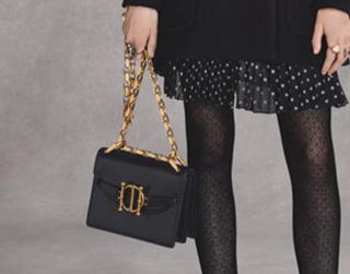 Dior black leather direction bag