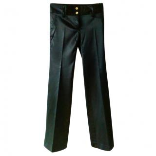 Dolce & Gabbana Satin Stretch Wide Leg Trousers