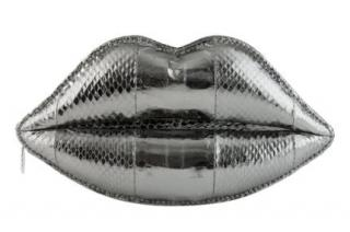 Lulu Guinness Pewter Snakeskin Lips Clutch