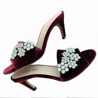 Dior burgundy rhinetone embellished velvet sandals