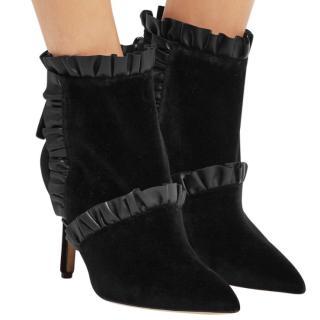 Christopher Kane black velvet ankle boots